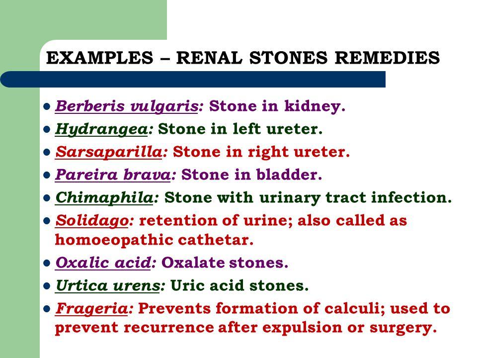 EXAMPLES – RENAL STONES REMEDIES Berberis vulgaris: Stone in kidney. Hydrangea: Stone in left ureter. Sarsaparilla: Stone in right ureter. Pareira bra