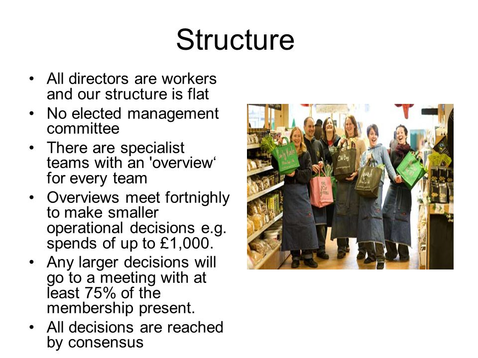 Structure All directors are workers and our structure is flat No elected management committee There are specialist teams with an overview' for every team Overviews meet fortnighly to make smaller operational decisions e.g.