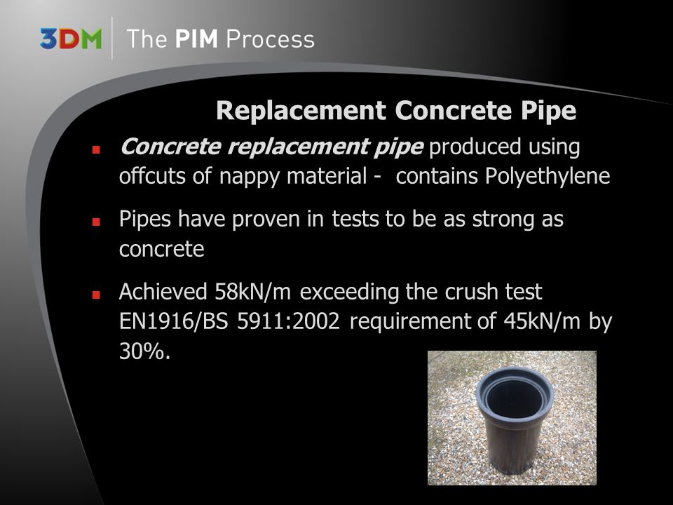 Concrete replacement pipe produced using offcuts of nappy material - contains Polyethylene Pipes have proven in tests to be as strong as concrete Achi