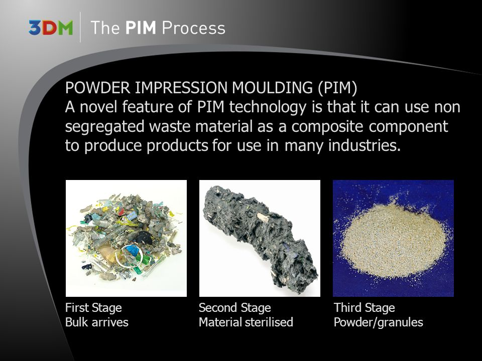 PIM - New scaleable Technology producing plastic/ composite materials to achieve high strength/low weight thermoplastic moulded components Allow use of dirty co-mingled post use plastics to produce high value finished products Can produce large scale moulded product Can encapsulate other non-polymer materials to provide additional product functionality for example conduit piping into wall panels Can fully recycle the products once useful life is exceeded into new/alternative products