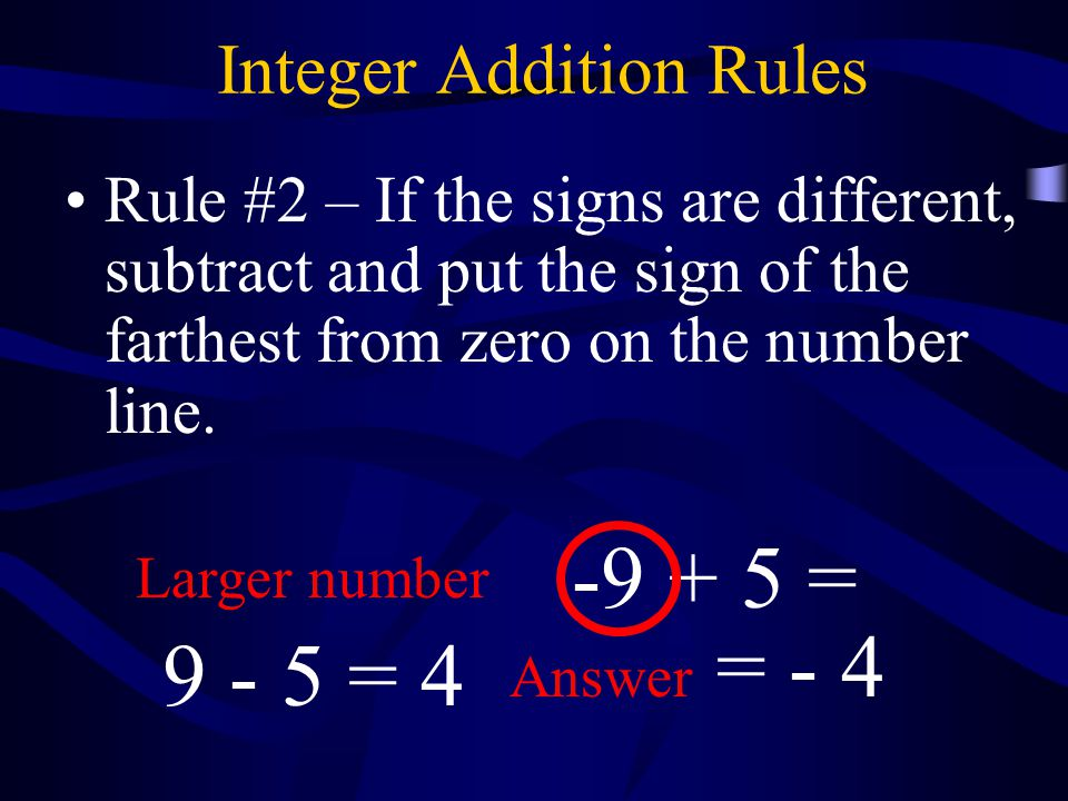 Integer Addition Rules Rule #2 – If the signs are different, subtract and put the sign of the farthest from zero on the number line.