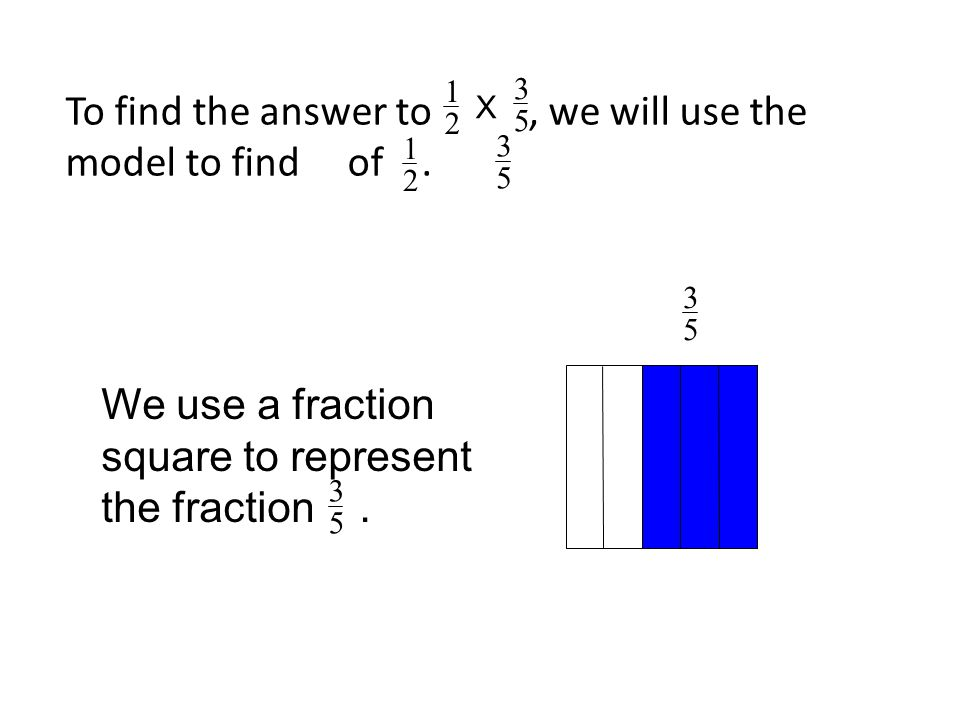 To find the answer to, we will use the model to find of. 3 5 We use a fraction square to represent the fraction. 3 5 1 2 3 5 1 2 3 5 X