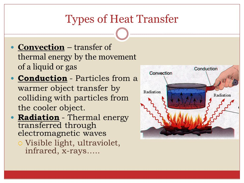 Types of Heat Transfer Convection – transfer of thermal energy by the movement of a liquid or gas Conduction - Particles from a warmer object transfer