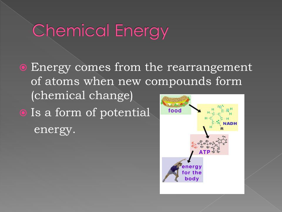 Energy comes from the rearrangement of atoms when new compounds form (chemical change)  Is a form of potential energy.