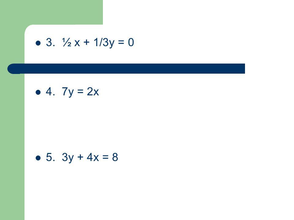 3. ½ x + 1/3y = 0 4. 7y = 2x 5. 3y + 4x = 8