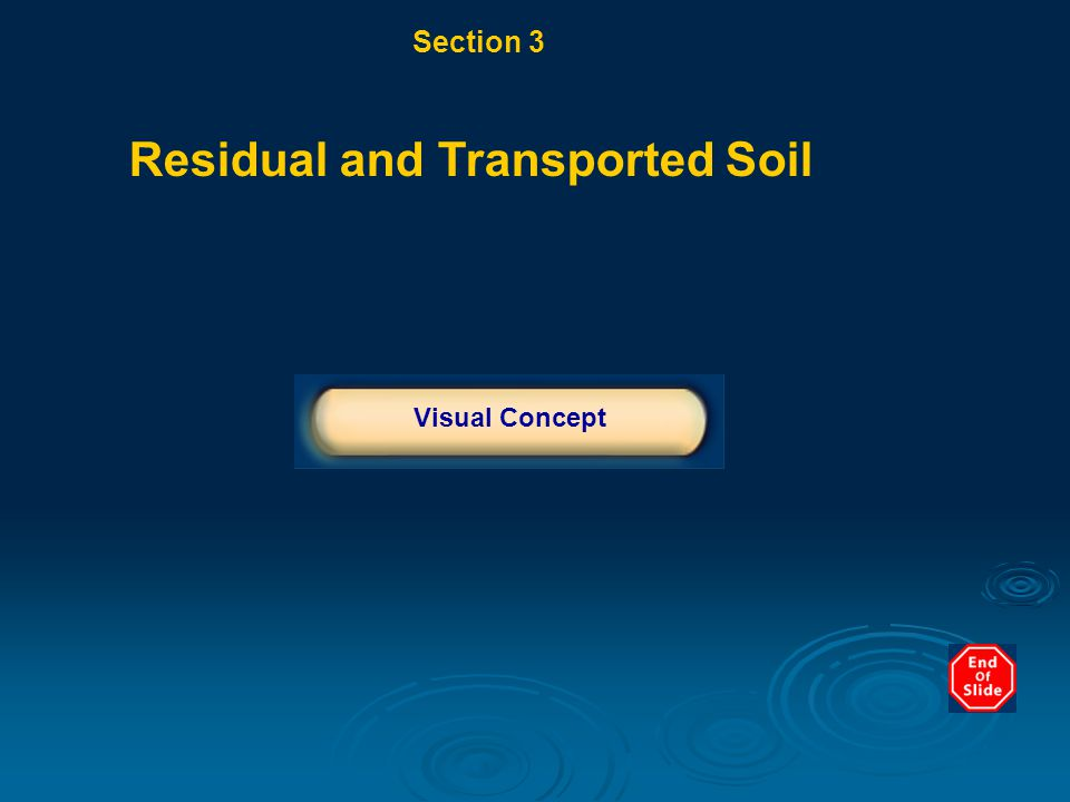 Section 3 From Bedrock to Soil Chapter 10 Residual and Transported Soil Click below to watch the Visual Concept.