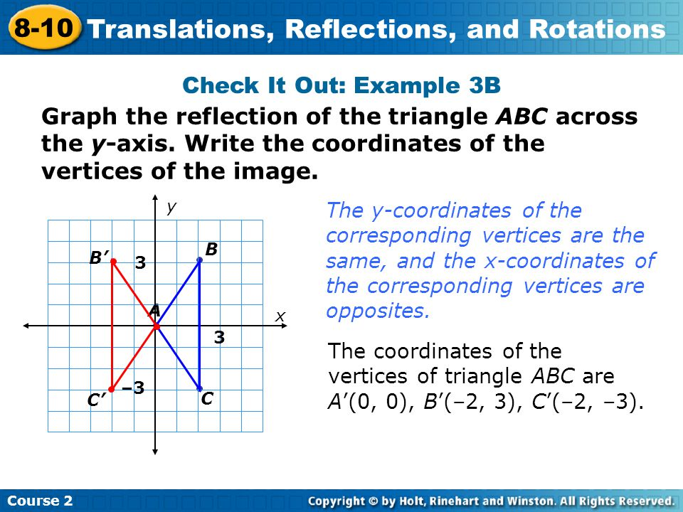 Check It Out: Example 3B Insert Lesson Title Here A x y B C 3 3 –3 Course 2 8-10 Translations, Reflections, and Rotations Graph the reflection of the triangle ABC across the y-axis.