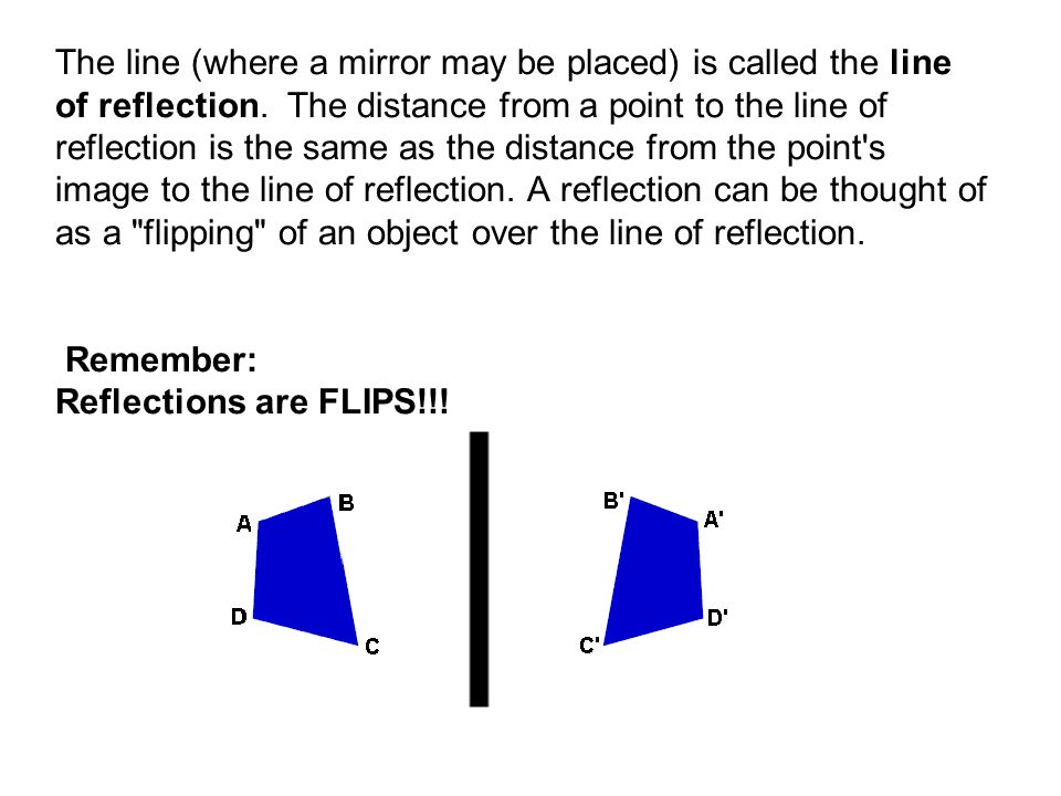 The line (where a mirror may be placed) is called the line of reflection.