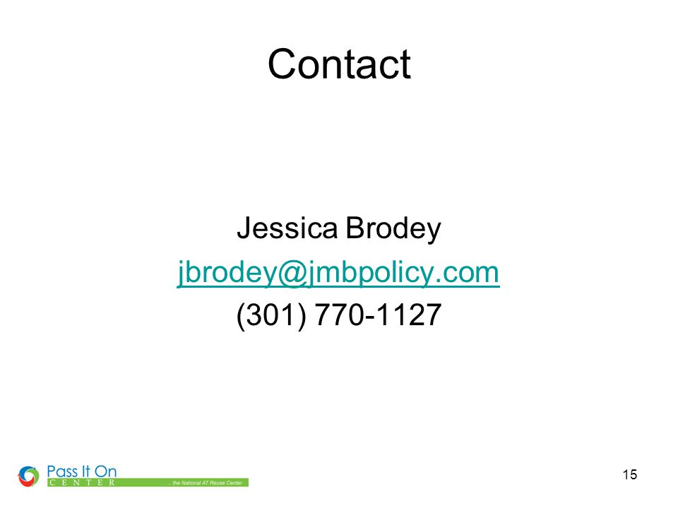 15 Contact Jessica Brodey jbrodey@jmbpolicy.com (301) 770-1127