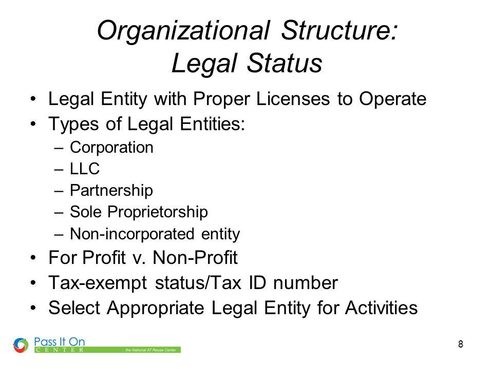 8 Organizational Structure: Legal Status Legal Entity with Proper Licenses to Operate Types of Legal Entities: –Corporation –LLC –Partnership –Sole Proprietorship –Non-incorporated entity For Profit v.