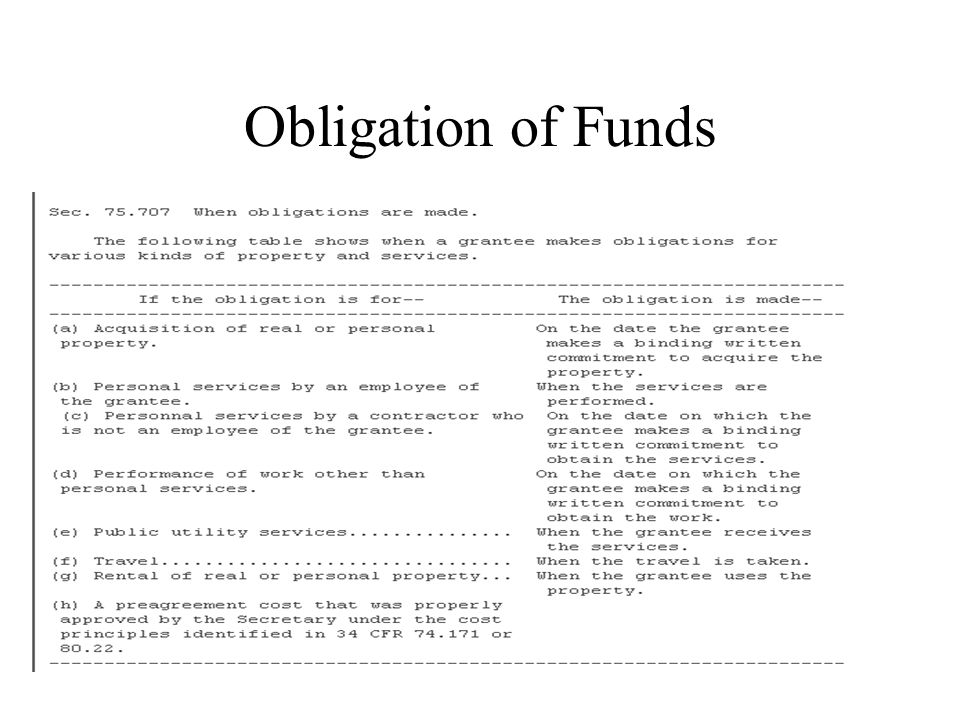 Obligation of Funds