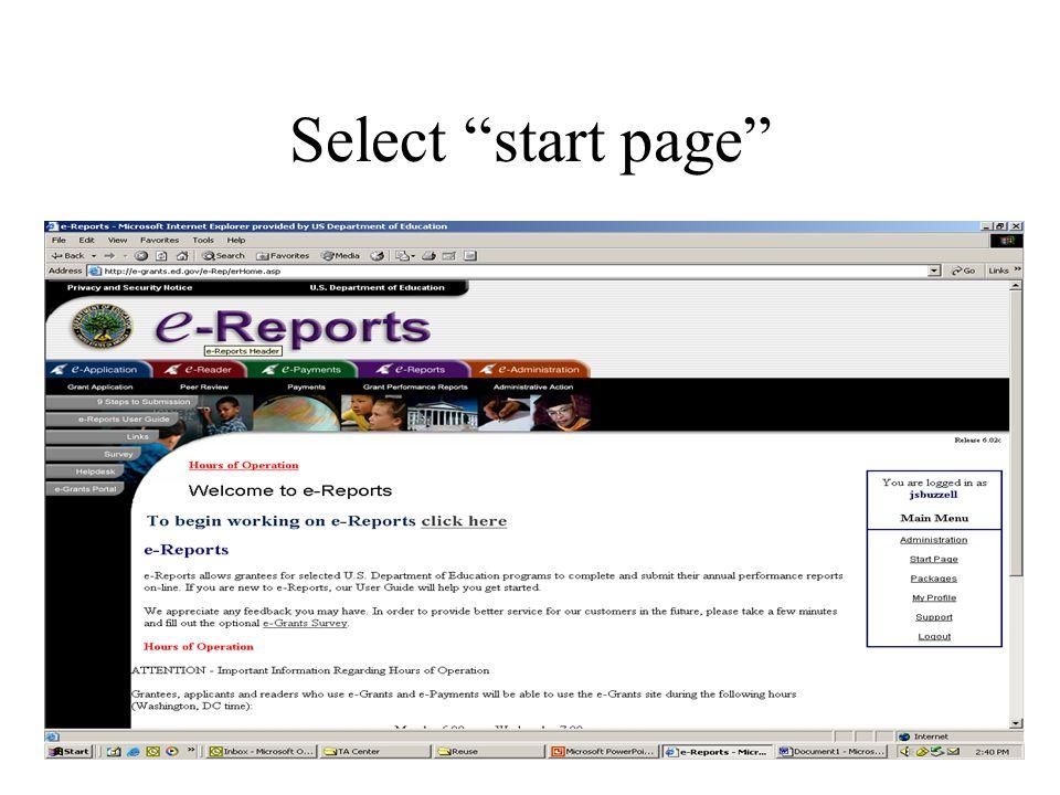 Select start page