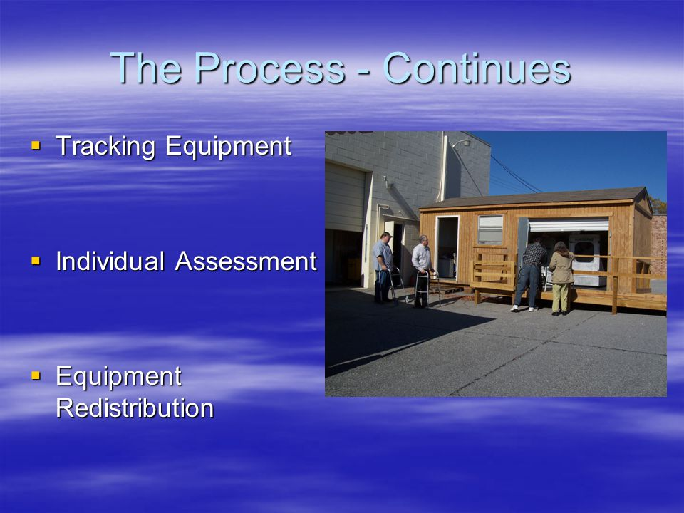 The Process - Continues  Tracking Equipment  Individual Assessment  Equipment Redistribution