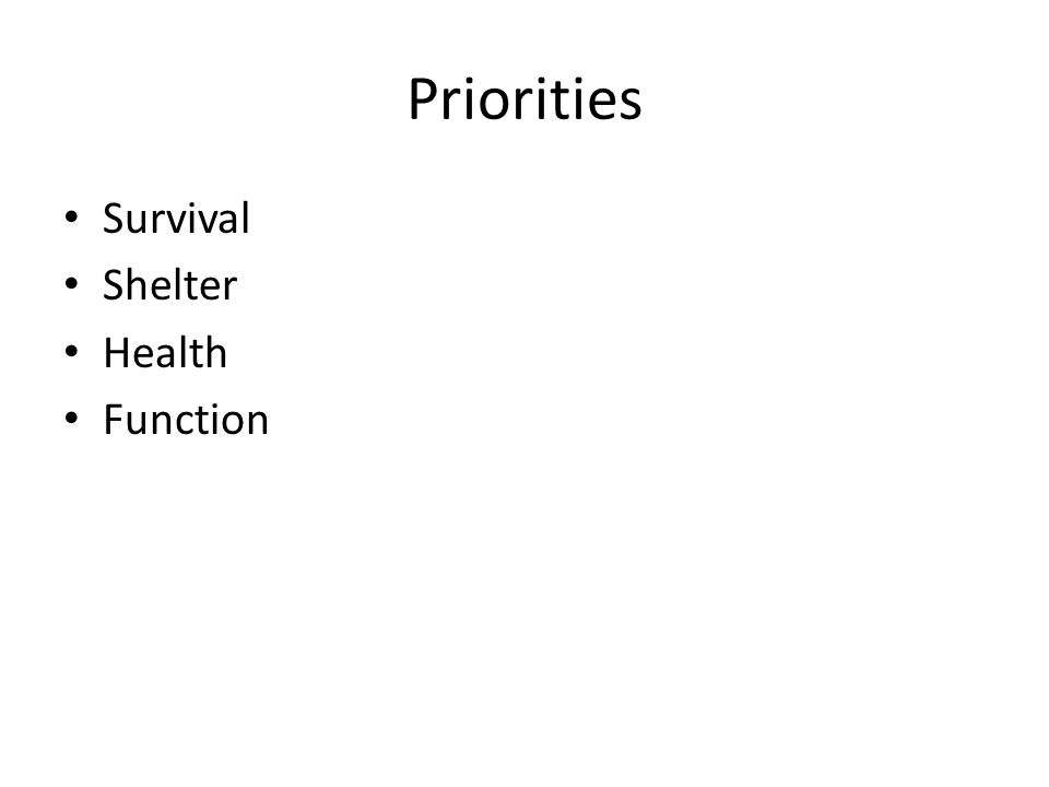 Priorities Survival Shelter Health Function