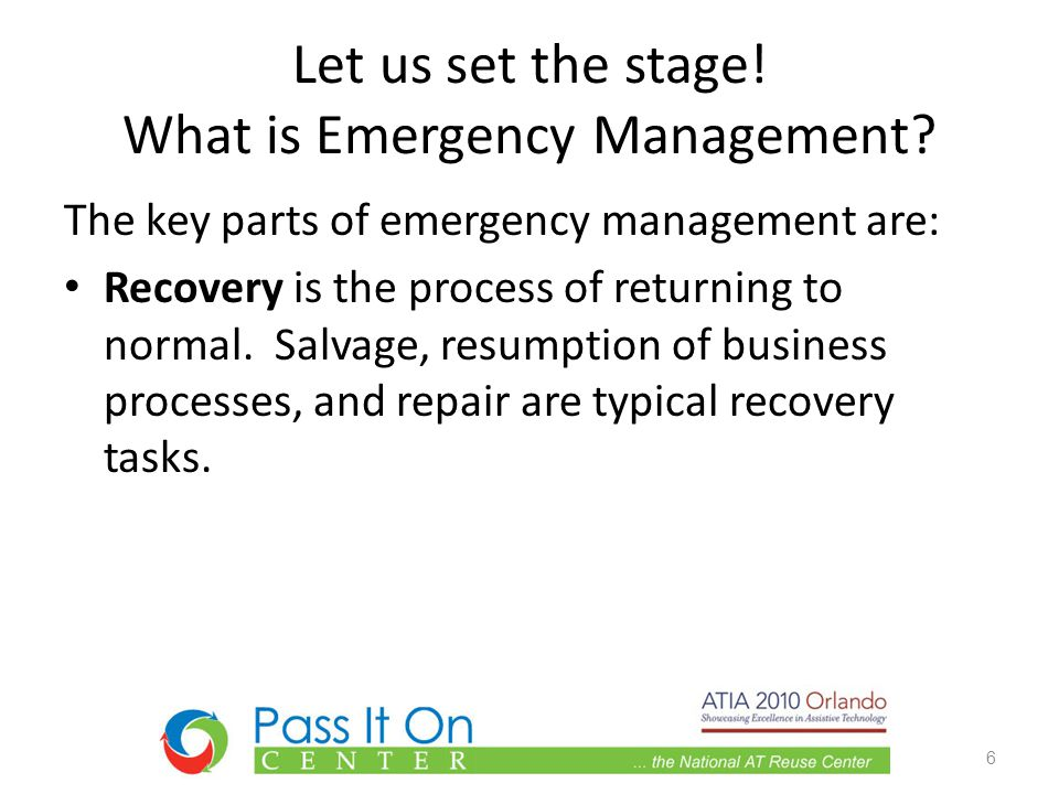 Let us set the stage. What is Emergency Management.