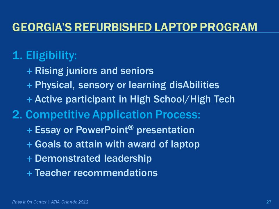 GEORGIA'S REFURBISHED LAPTOP PROGRAM 1.