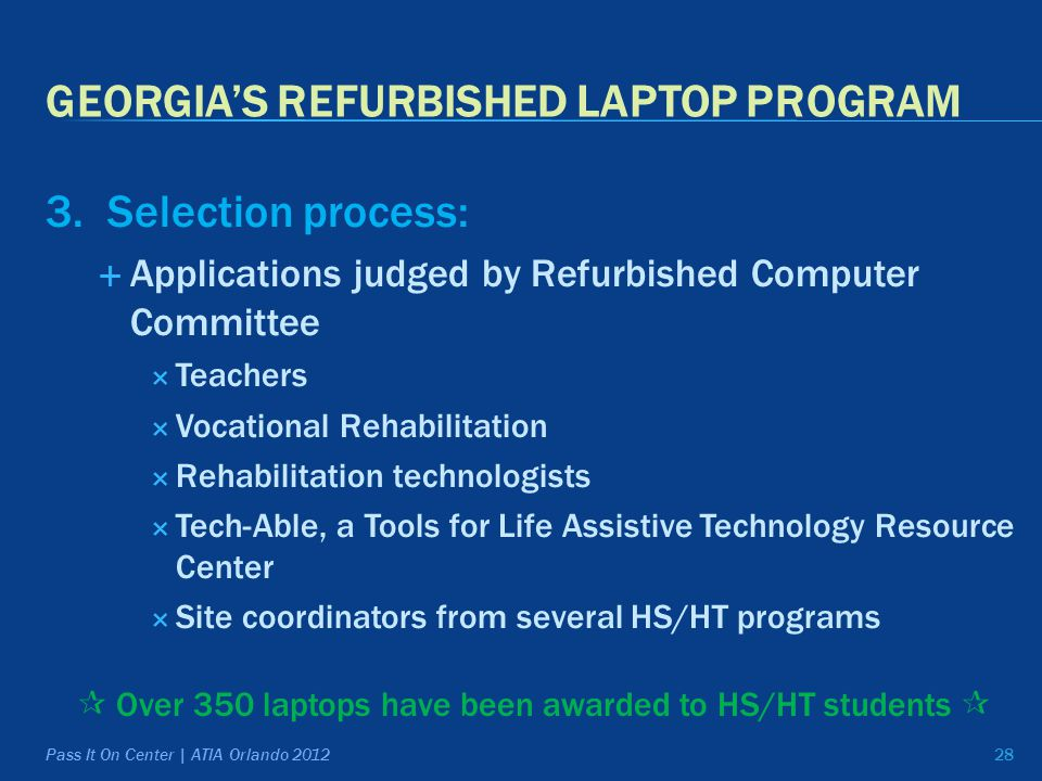 GEORGIA'S REFURBISHED LAPTOP PROGRAM 3.