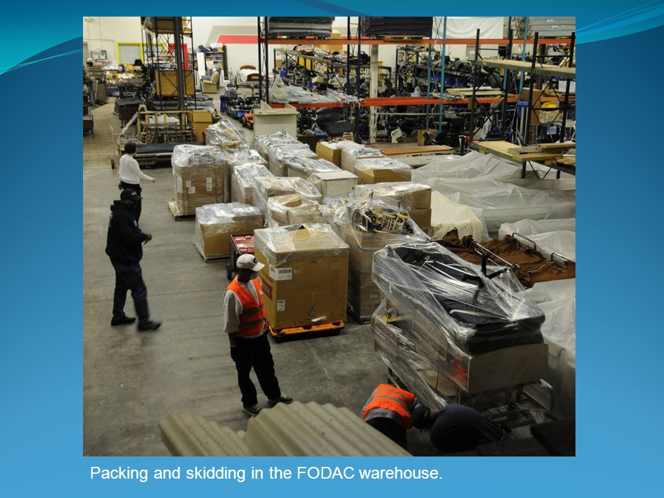 Packing and skidding in the FODAC warehouse.