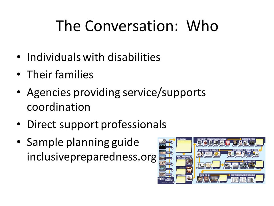 The Conversation: Who Individuals with disabilities Their families Agencies providing service/supports coordination Direct support professionals Sampl