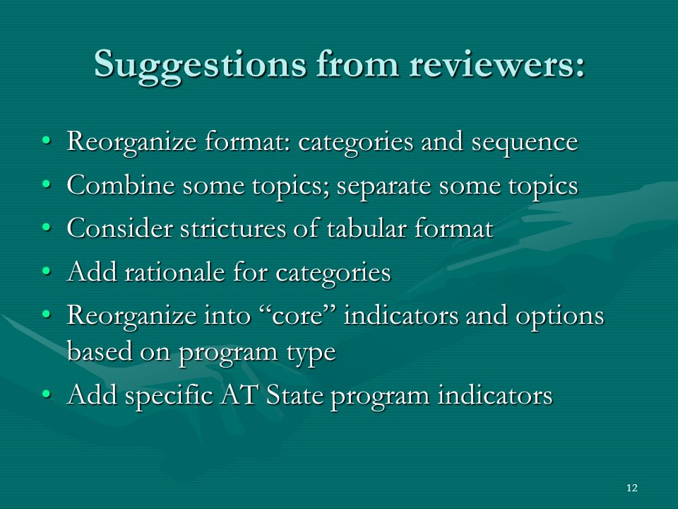 12 Suggestions from reviewers: Reorganize format: categories and sequenceReorganize format: categories and sequence Combine some topics; separate some topicsCombine some topics; separate some topics Consider strictures of tabular formatConsider strictures of tabular format Add rationale for categoriesAdd rationale for categories Reorganize into core indicators and options based on program typeReorganize into core indicators and options based on program type Add specific AT State program indicatorsAdd specific AT State program indicators