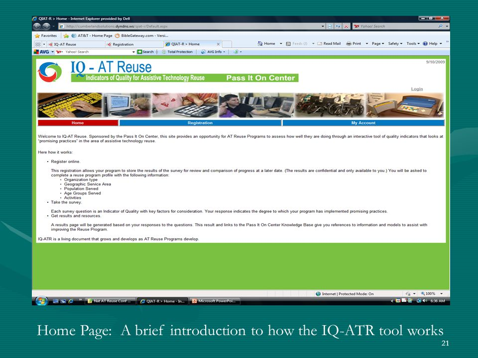 21 Home Page: A brief introduction to how the IQ-ATR tool works