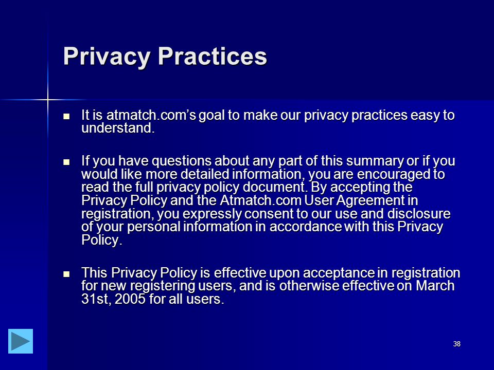 38 Privacy Practices It is atmatch.com's goal to make our privacy practices easy to understand.