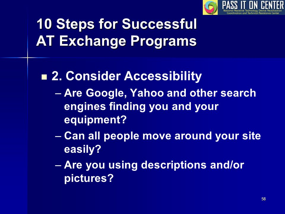 58 10 Steps for Successful AT Exchange Programs 2.