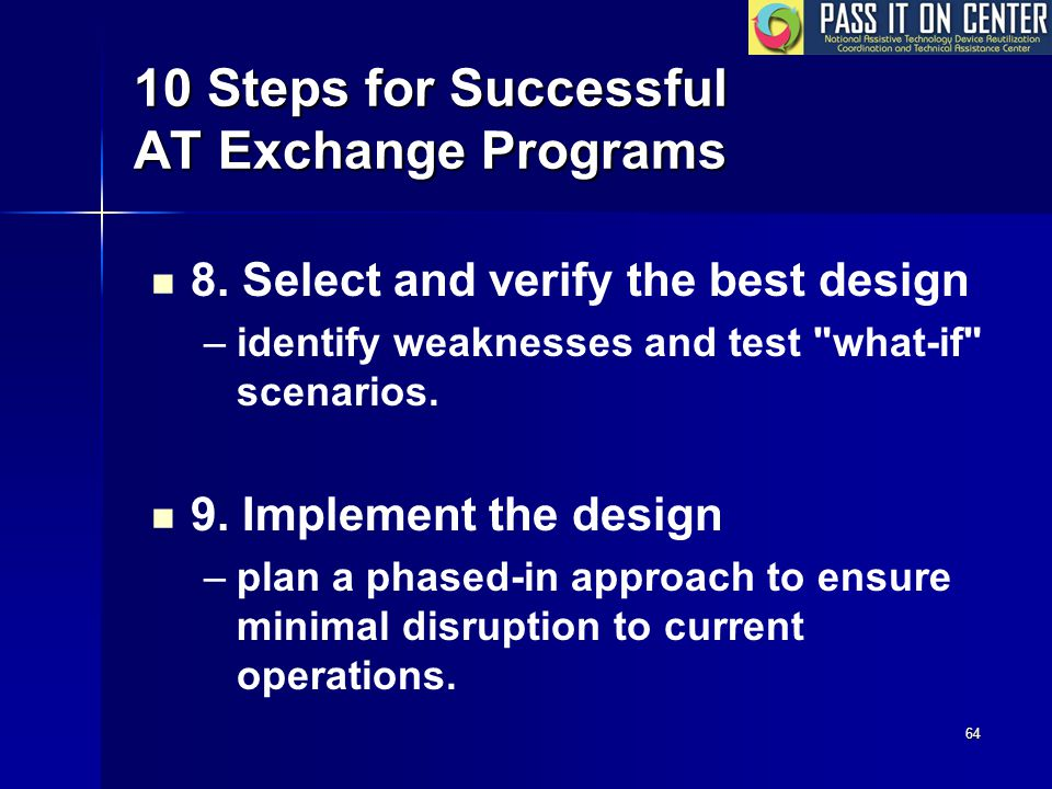 64 10 Steps for Successful AT Exchange Programs 8.