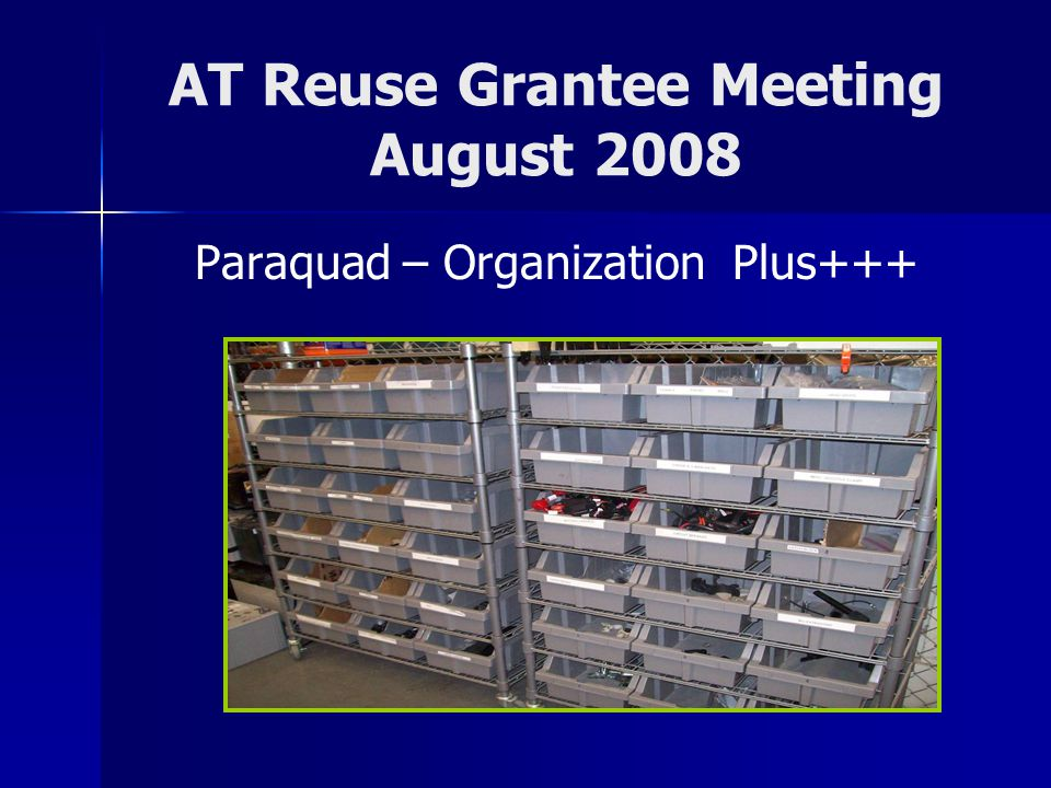 AT Reuse Grantee Meeting August 2008 Paraquad – Organization Plus+++