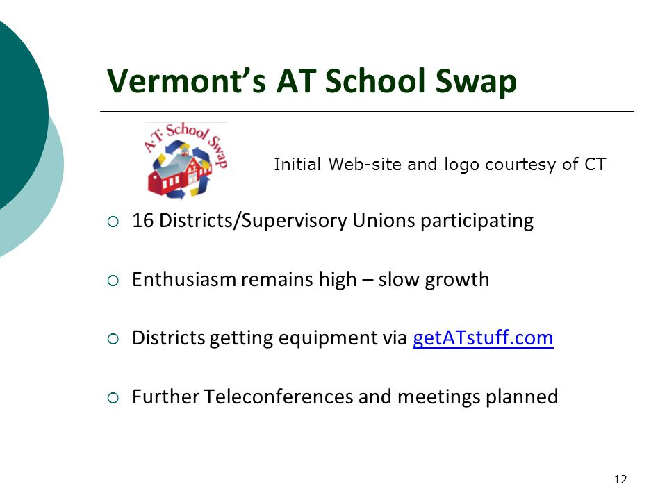 12 Vermont's AT School Swap  16 Districts/Supervisory Unions participating  Enthusiasm remains high – slow growth  Districts getting equipment via getATstuff.com  Further Teleconferences and meetings planned Initial Web-site and logo courtesy of CT