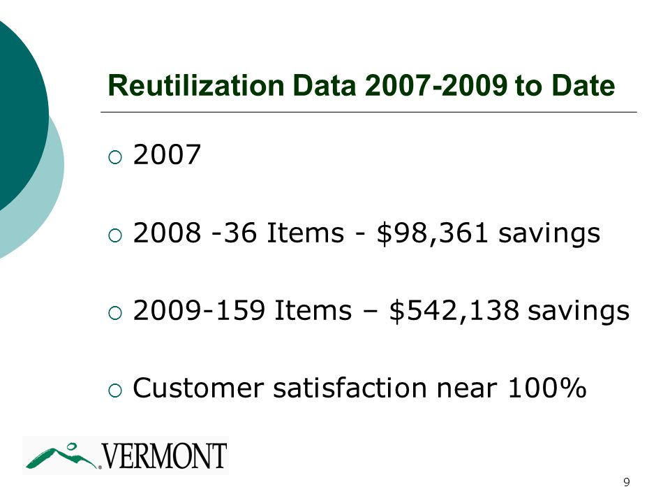 9  2007  2008 -36 Items - $98,361 savings  2009-159 Items – $542,138 savings  Customer satisfaction near 100% Reutilization Data 2007-2009 to Date