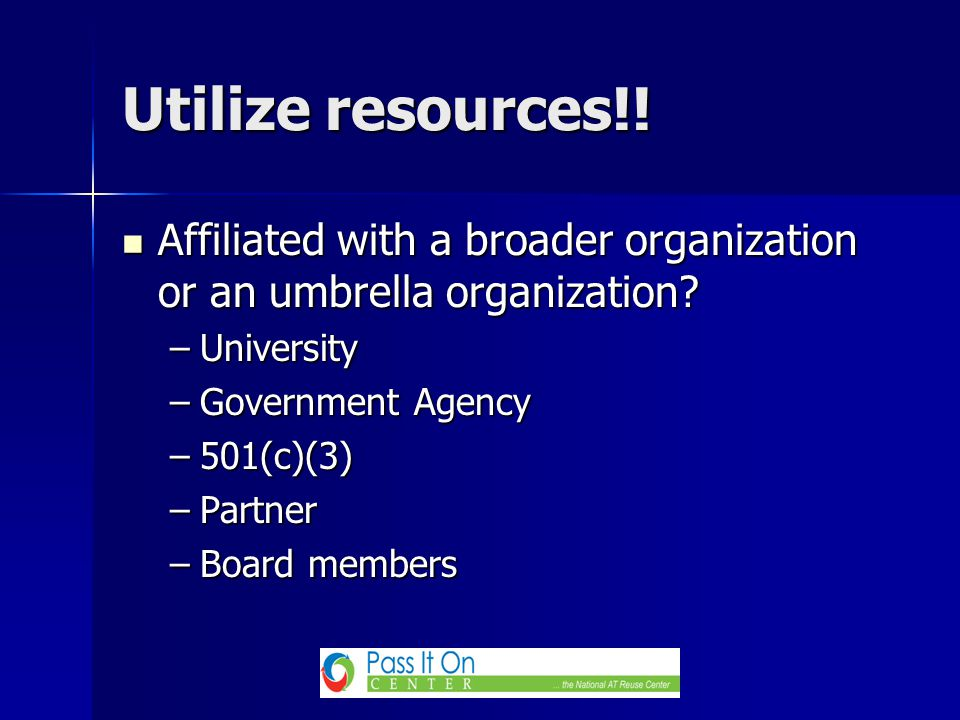 Affiliated with a broader organization or an umbrella organization? Affiliated with a broader organization or an umbrella organization? –University –G