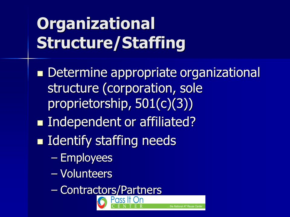Determine appropriate organizational structure (corporation, sole proprietorship, 501(c)(3)) Determine appropriate organizational structure (corporation, sole proprietorship, 501(c)(3)) Independent or affiliated.