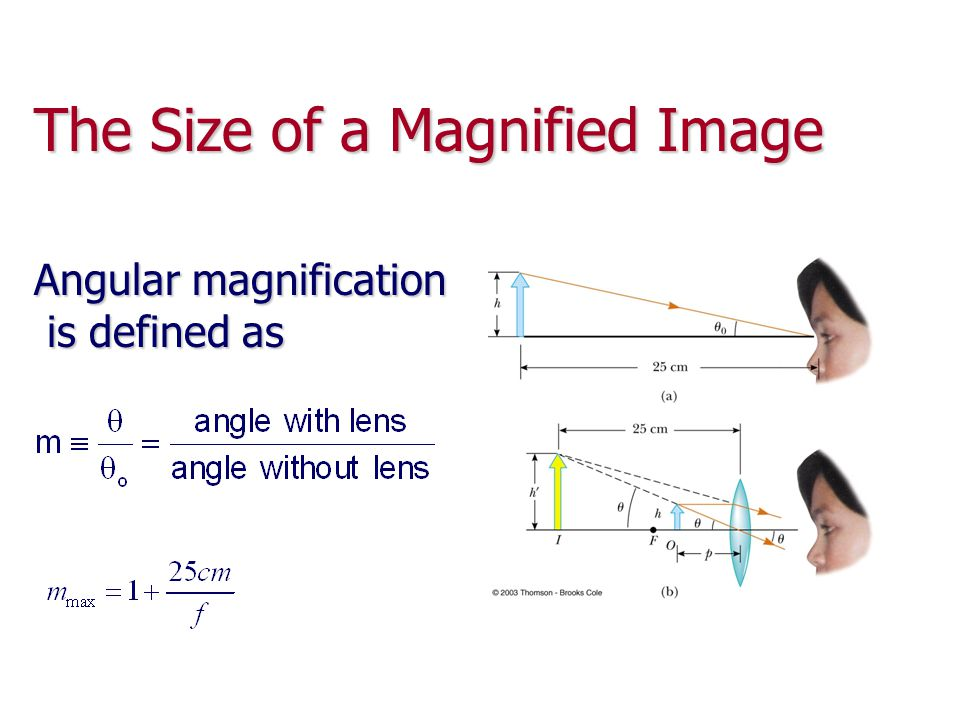 The Size of a Magnified Image Angular magnification is defined as is defined as