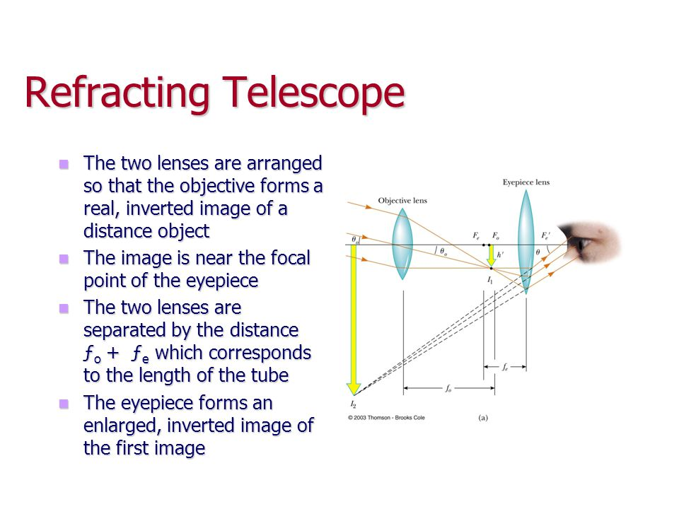 Refracting Telescope The two lenses are arranged so that the objective forms a real, inverted image of a distance object The two lenses are arranged s