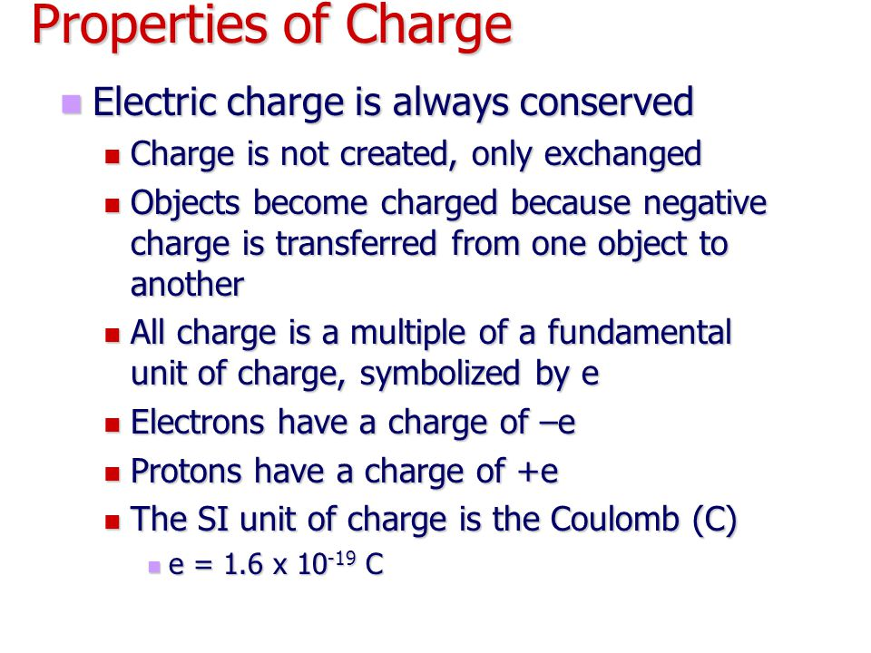 Properties of Charge Electric charge is always conserved Electric charge is always conserved Charge is not created, only exchanged Charge is not creat