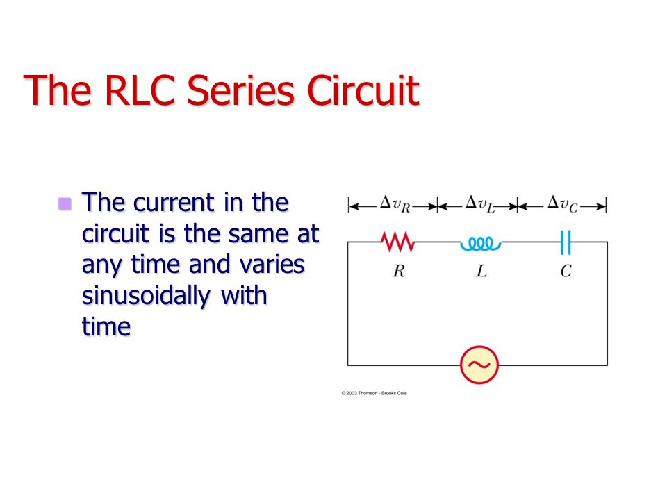 The RLC Series Circuit The current in the circuit is the same at any time and varies sinusoidally with time The current in the circuit is the same at