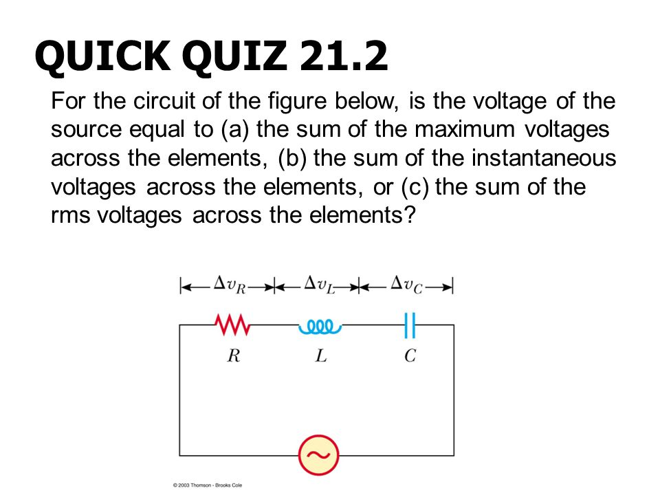 For the circuit of the figure below, is the voltage of the source equal to (a) the sum of the maximum voltages across the elements, (b) the sum of the