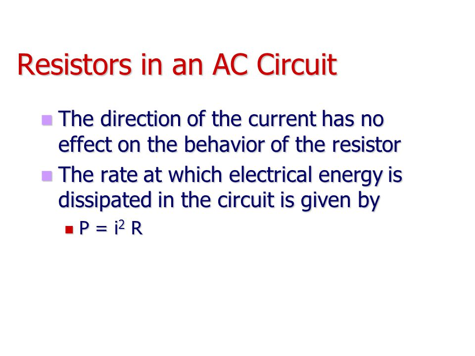 rms Current and Voltage The rms current is the direct current that would dissipate the same amount of energy in a resistor as is actually dissipated by the AC current The rms current is the direct current that would dissipate the same amount of energy in a resistor as is actually dissipated by the AC current Alternating voltages can also be discussed in terms of rms values Alternating voltages can also be discussed in terms of rms values