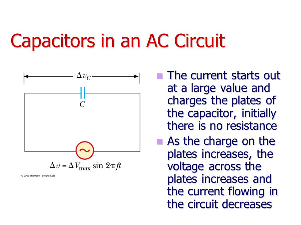 Capacitors in an AC Circuit The current starts out at a large value and charges the plates of the capacitor, initially there is no resistance The curr