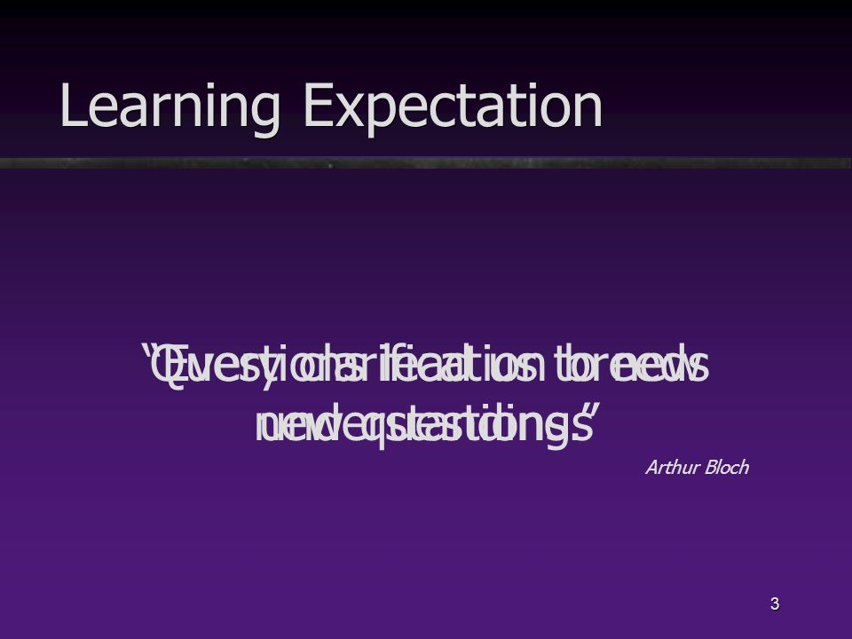 Every clarification breeds new questions. Arthur Bloch 3 Learning Expectation Questions lead us to new understandings