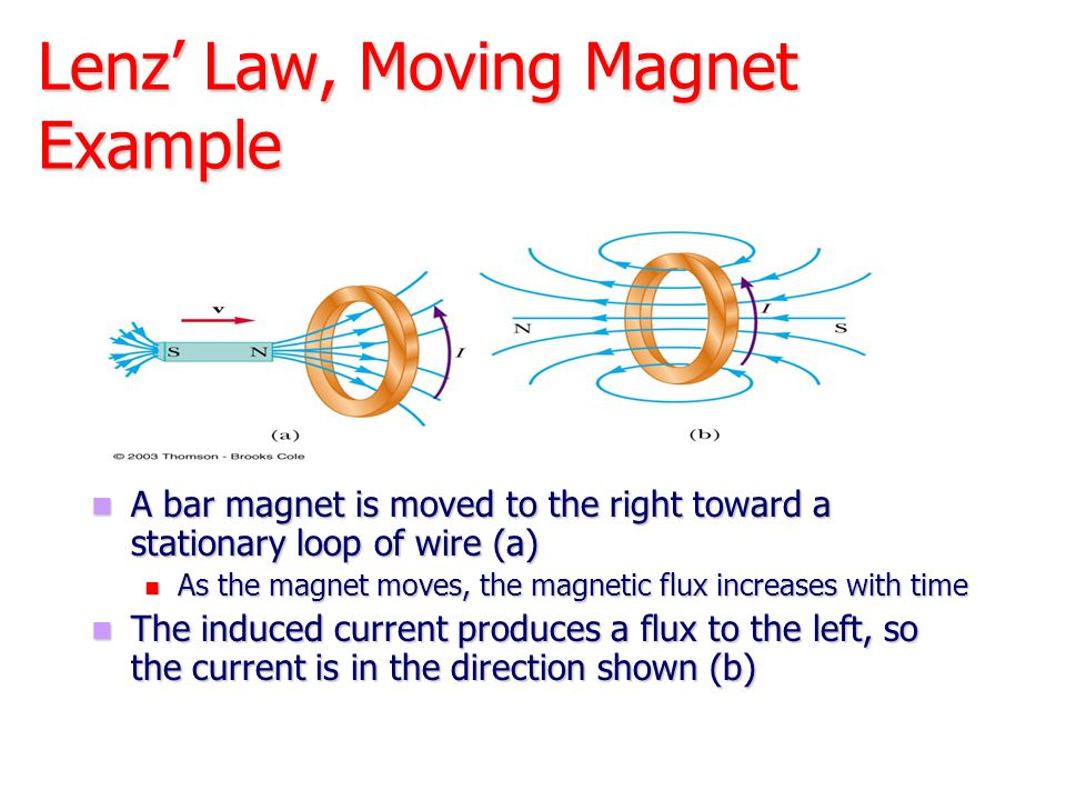 Lenz' Law, Moving Magnet Example A bar magnet is moved to the right toward a stationary loop of wire (a) As the magnet moves, the magnetic flux increa