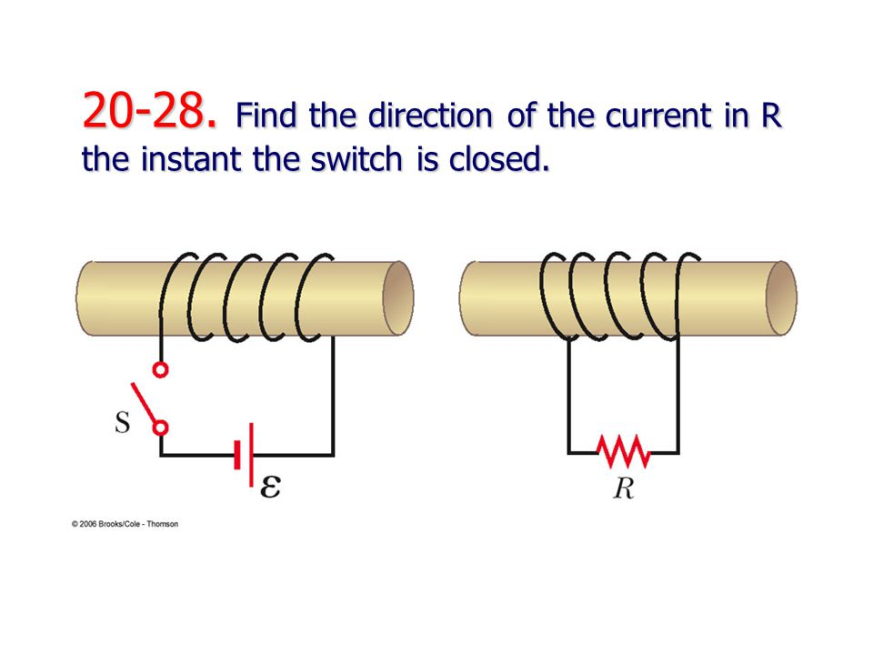 20-28. Find the direction of the current in R the instant the switch is closed.