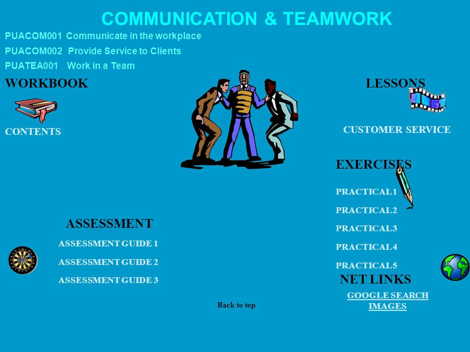 COMMUNICATION & TEAMWORK WORKBOOK CUSTOMER SERVICE GOOGLE SEARCH IMAGES ASSESSMENT ASSESSMENT GUIDE 1 PRACTICAL 1 PRACTICAL 2 PRACTICAL 3 PRACTICAL 4 PRACTICAL 5 CONTENTS LESSONS Back to top NET LINKS EXERCISES PUACOM002 Provide Service to Clients PUACOM001 Communicate in the workplace PUATEA001 Work in a Team ASSESSMENT GUIDE 2 ASSESSMENT GUIDE 3