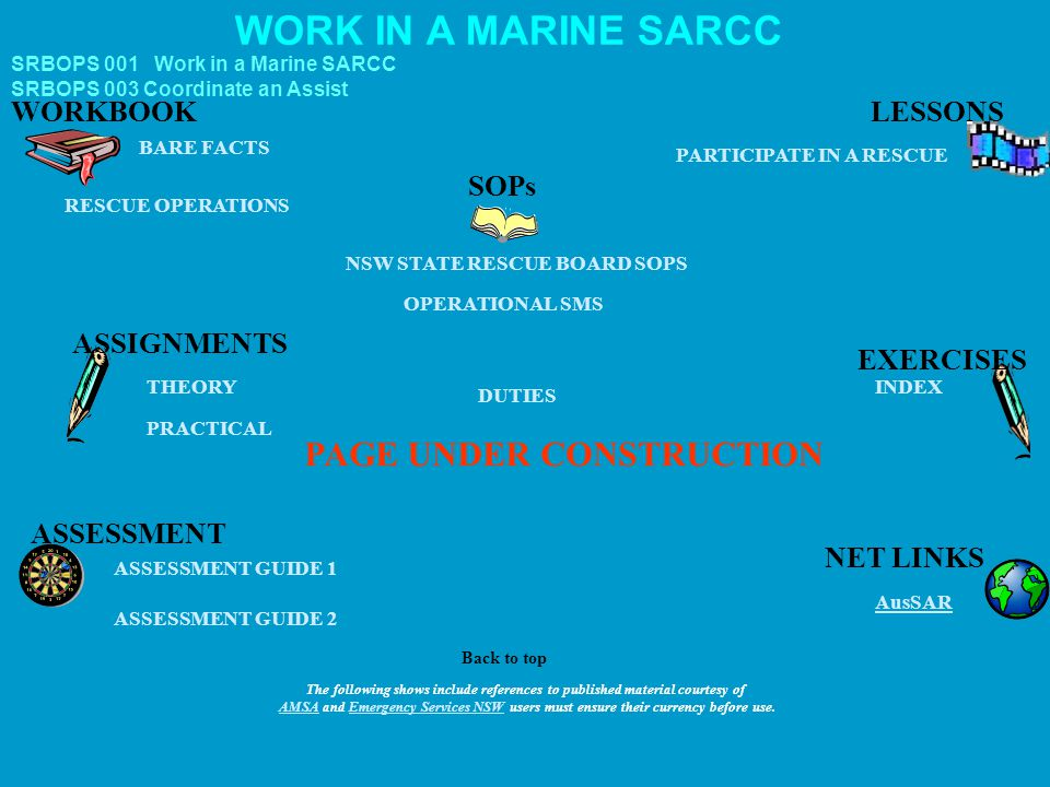 SRBOPS 001 Work in a Marine SARCC WORK IN A MARINE SARCC ASSESSMENT ASSESSMENT GUIDE 1 ASSIGNMENTS AusSAR PARTICIPATE IN A RESCUE PAGE UNDER CONSTRUCT