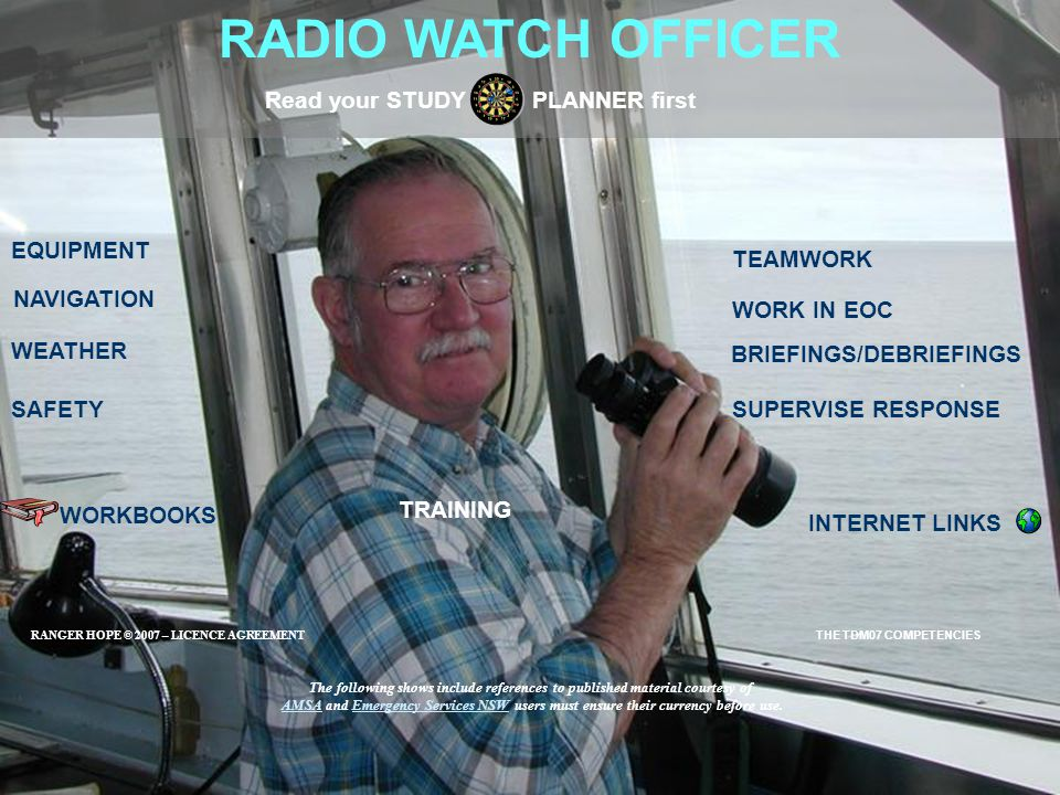 RADIO WATCH OFFICER EQUIPMENT SAFETY BRIEFINGS/DEBRIEFINGS Read your STUDY PLANNER first SUPERVISE RESPONSE NAVIGATION WORKBOOKS INTERNET LINKS WEATHE