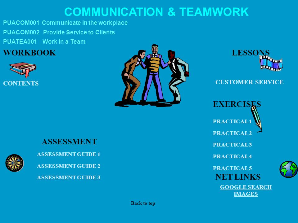 COMMUNICATION & TEAMWORK WORKBOOK CUSTOMER SERVICE GOOGLE SEARCH IMAGES ASSESSMENT PRACTICAL 1 PRACTICAL 2 PRACTICAL 3 PRACTICAL 4 PRACTICAL 5 CONTENT