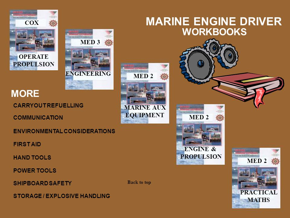 MED 3 MARINE AUX EQUIPMENT MED 2 ENGINEERING ENGINE & PROPULSION PRACTICAL MATHS MARINE ENGINE DRIVER MED 2 COX OPERATE PROPULSION WORKBOOKS MORE SHIP