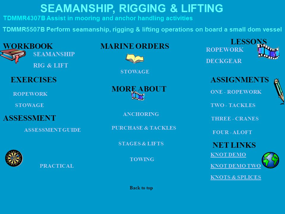DECKGEAR ROPEWORK PRACTICAL ASSESSMENT GUIDE RIG & LIFT ROPEWORK KNOT DEMO KNOTS & SPLICES STAGES & LIFTS TOWING KNOT DEMO TWO ANCHORING MARINE ORDERS