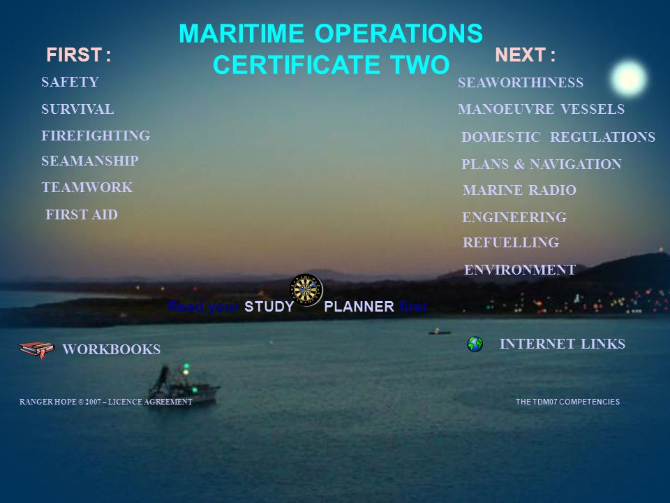 MARITIME OPERATIONS CERTIFICATE TWO WORKBOOKS INTERNET LINKS FIRST : SURVIVAL SEAMANSHIP MANOEUVRE VESSELS TEAMWORK SEAWORTHINESS ENGINEERING ENVIRONM